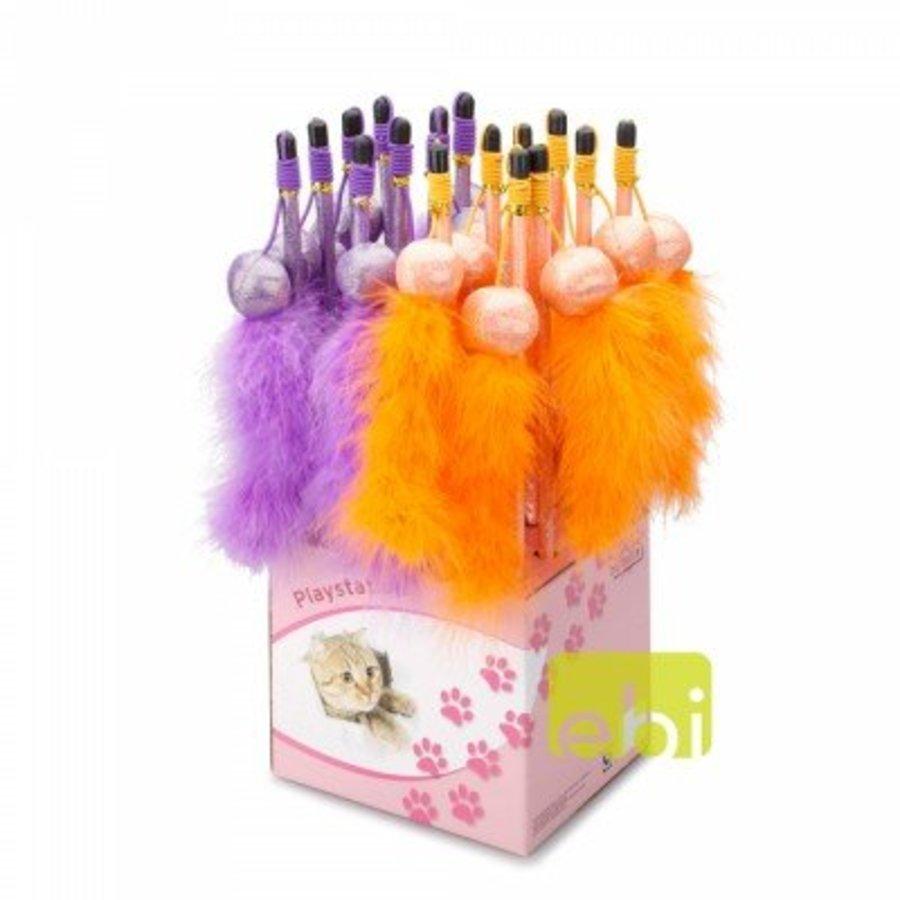 Cat fishing rod tickle fun paars - oranje