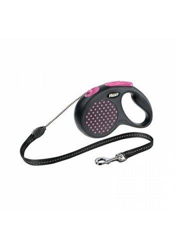 Flexi Design zwart-roze rollijn 3 of 5m