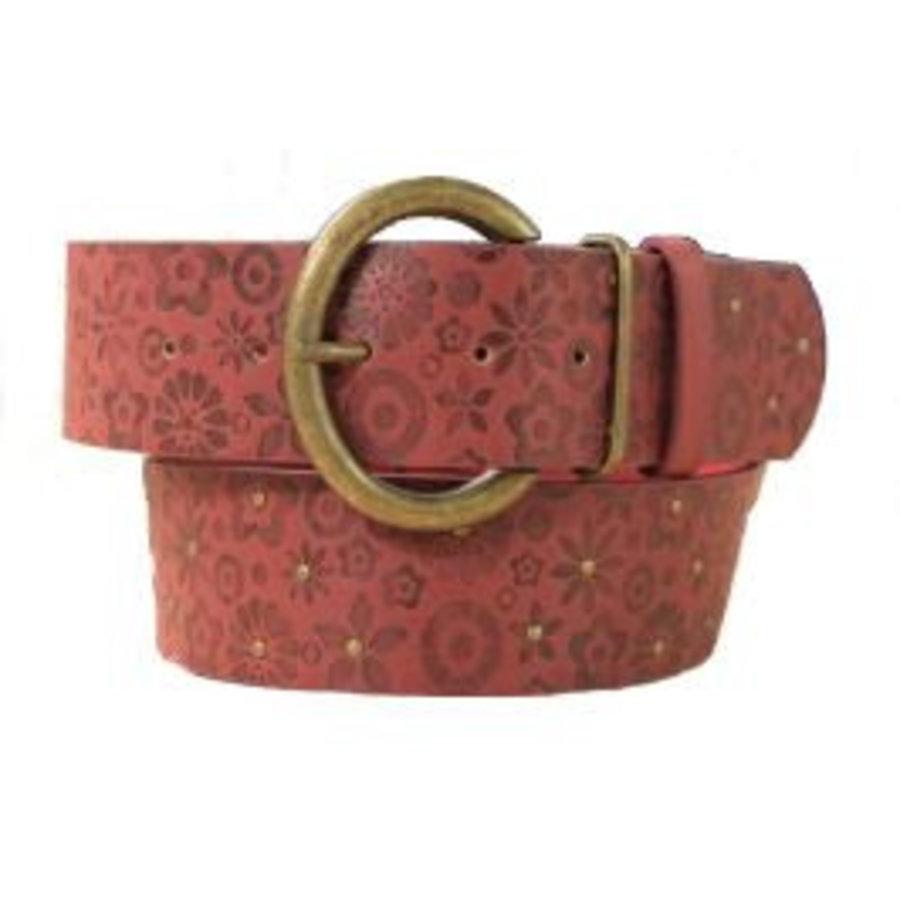Riem bordeaux rood met bloemen-motief en ronde gesp