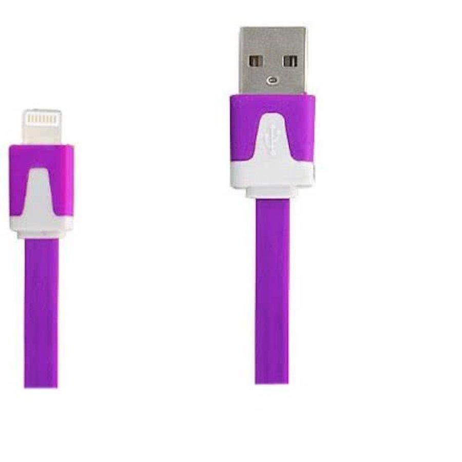 Blitzkabel auf USB-Kabel weiß-violett 1 Meter
