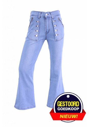 Neckermann Dames flared broek met stretch licht-blauw
