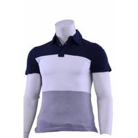 Polo Kurzarm blau / weiß / grau