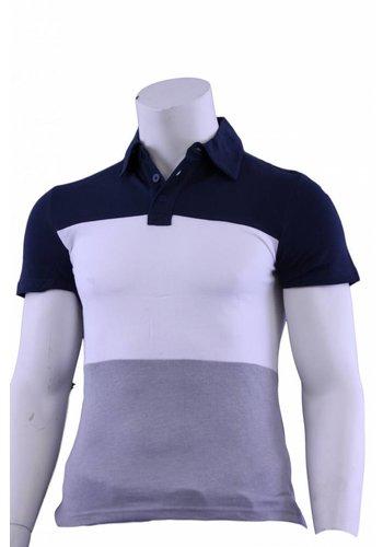 Celio Polo heren korte mouw blauw/wit/grijs