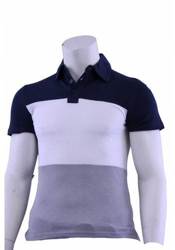 Celio Polo korte mouw blauw/wit/grijs