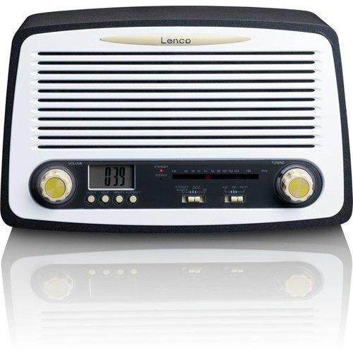 Lenco Retro FM stereo radio met alarm klok