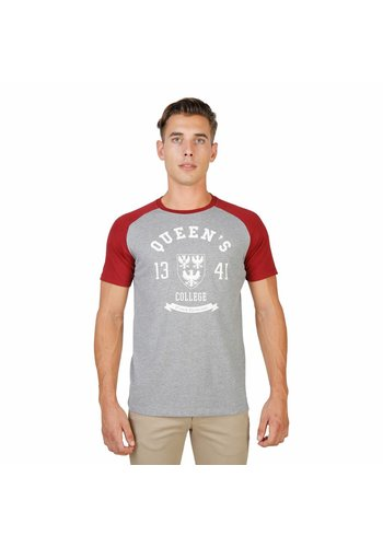 Oxford University Tee-shirt homme de l'université d'Oxford QUEENS-RAGLAN-MM - gris / rouge