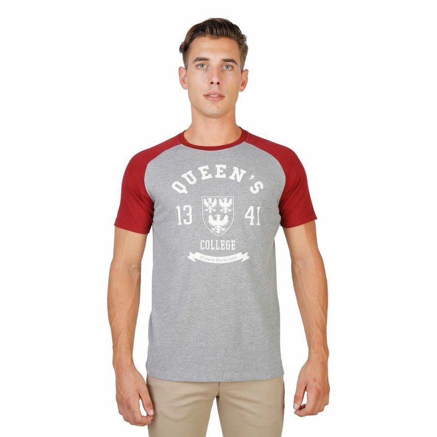 Männer T-Shirt von der Universität Oxford QUEENS-RAGLAN-MM - grau / rot