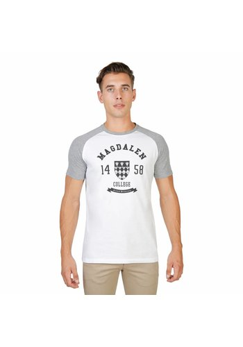 Oxford University Heren T-Shirt van Oxford University MAGDALEN-RAGLAN-MM - wit/grijs