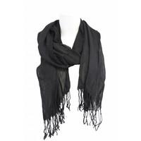 Damen Schal schwarz mit Fransen