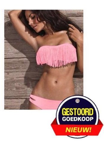 Neckermann Bikini mit fransigem Lachsrosa