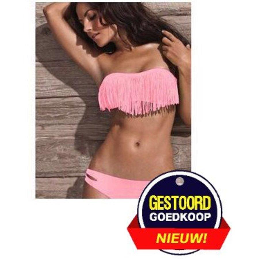 Bikini mit gefranstem Lachsrosa
