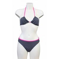 Bikini triangle à pois - Bleu / blanc / rose