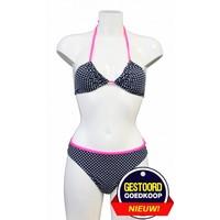 Triangel-Bikini mit Punktmuster - Blau / Weiß / Rosa