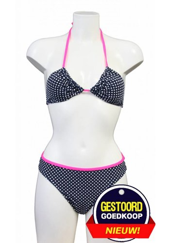 Neckermann Bikini triangle à pois - Bleu / blanc / rose