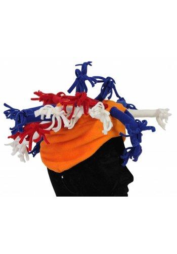 Neckermann Oranje Holland fleece hoed met strengels
