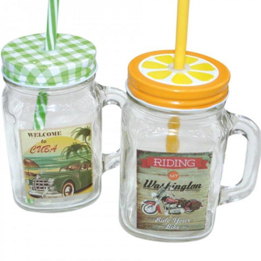 Drinkbeker met rietje - 450 ml