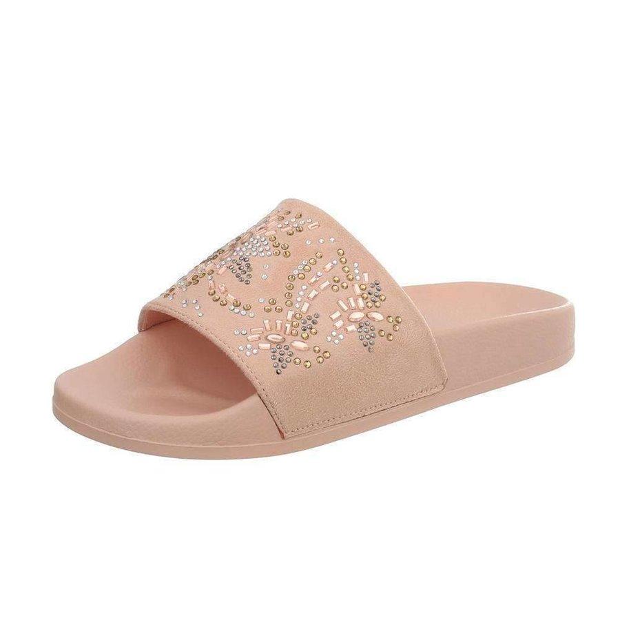 Damen Slipper mit Schlössern - pink
