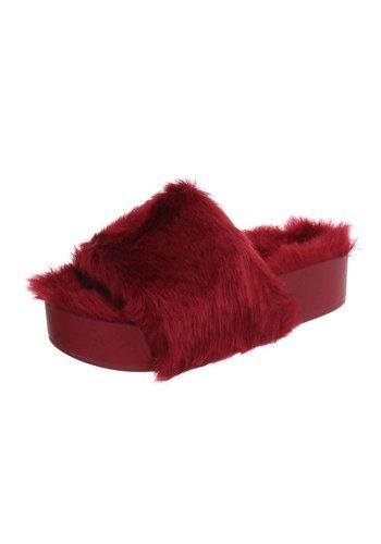Neckermann Damen Slipper-rotes Fell