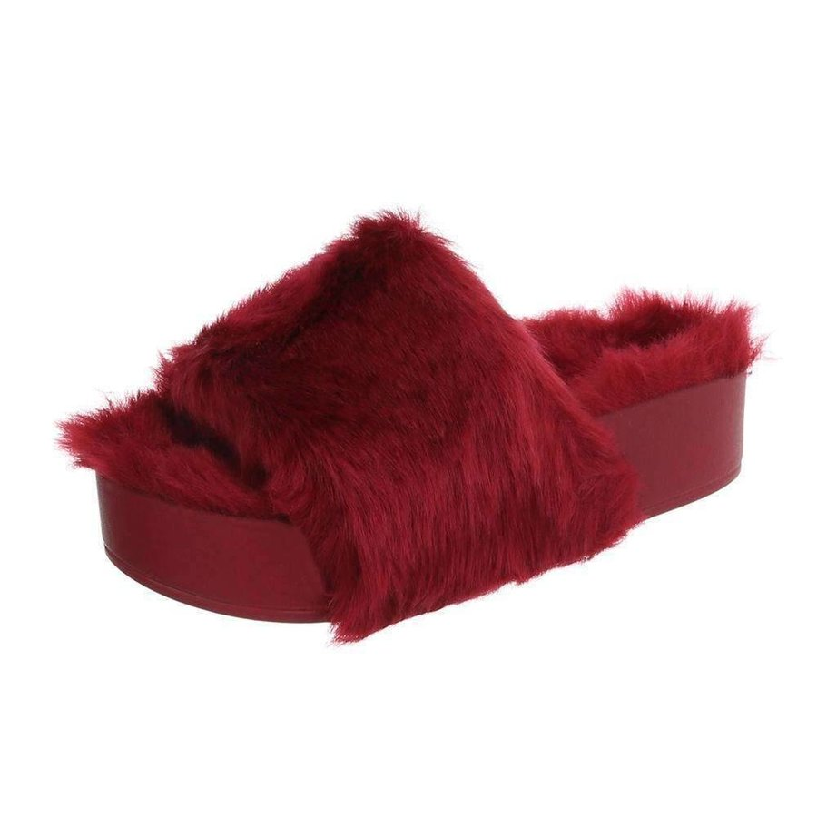 Damen Slipper-rotes Fell