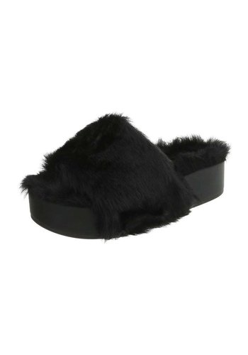 Neckermann Damen Slipper - schwarzes Fell