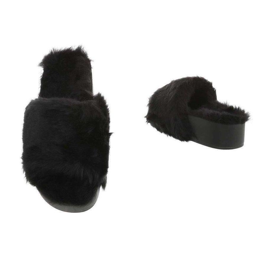Damen Slipper - schwarzes Fell