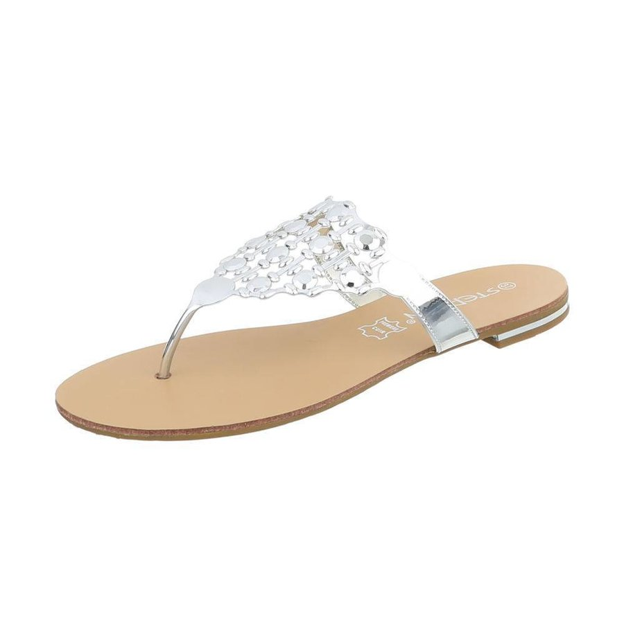 Damen Slipper - silber metallic