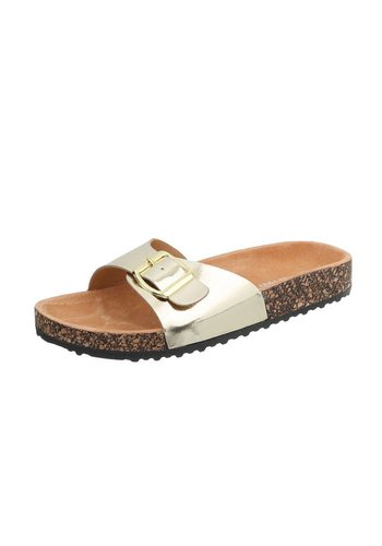 Neckermann Damen Slipper mit verstellbarer Schnalle - Gold