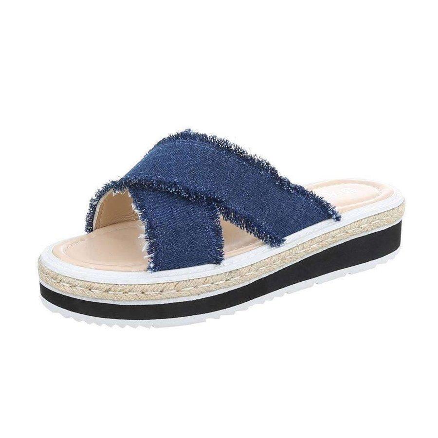 Damen Slipper - D.blue Denim