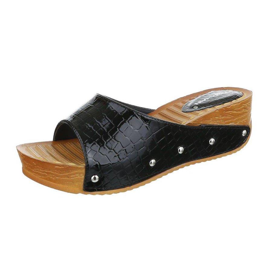 Damen Slipper - schwarzer Krokodilprint