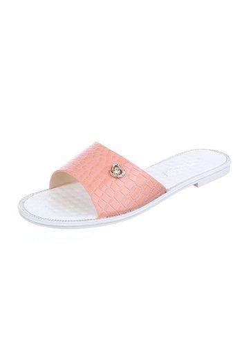 Neckermann Damen Slipper - rosa Krokodilprint