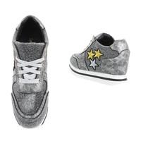 Damen Sneaker mit 3 Sternen - Silber