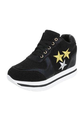 Neckermann Damen Sneaker mit 3 Sternen - schwarz