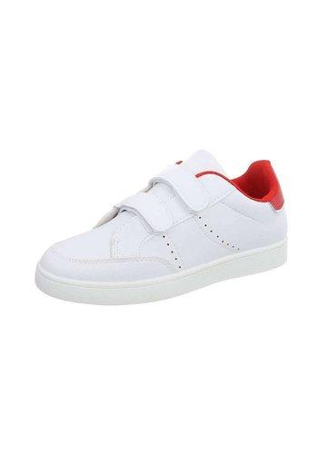 Neckermann Kinder Sneaker met klittenband - wit/rood