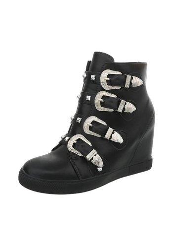 Neckermann Hoge dames  Sneakers met 4 gespen - zwart