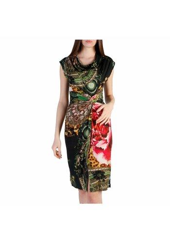 Desigual Eng anliegendes Kleid mit Multiprint - schwarz