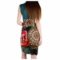 Eng anliegendes Kleid mit Multiprint - schwarz