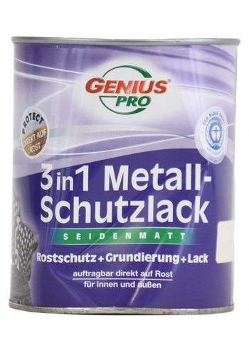 Genius Pro Grondverf - zijdeglans - anti roest - 3in1 - wit - 750 ml