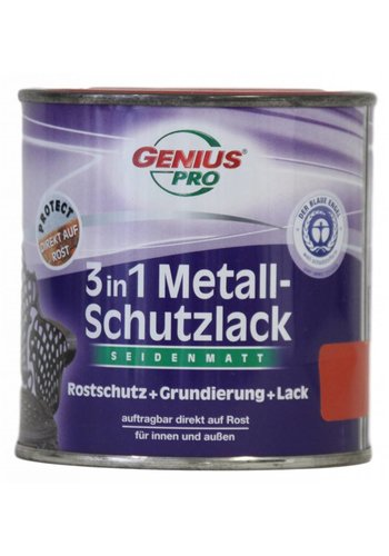 Genius Pro Grondverf - zijdeglans - anti roest - 3in1 - rood - 375 ml