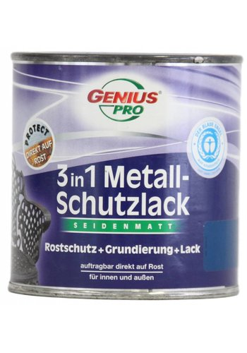 Genius Pro Grondverf - zijdeglans - anti roest - 3in1 - blauw - 375 ml