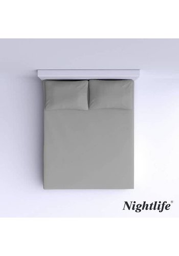 Nightlife Drap-housse en coton lisse 180x200cm - Gris