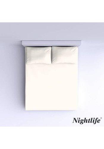 Nightlife Gladde Katoenen Hoeslaken 180x200cm - Gebroken Wit