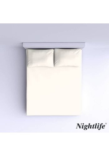Nightlife Glattes Baumwoll Spannbetttuch 180x200cm - Off White