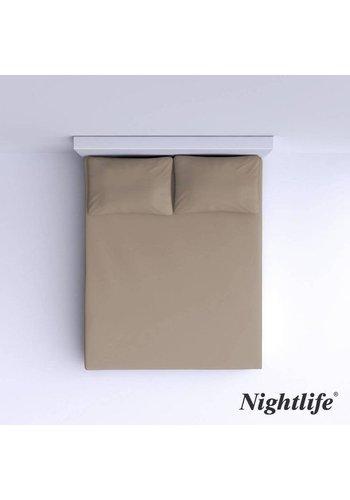 Nightlife Drap-housse en coton lisse 160x200cm - Taupe