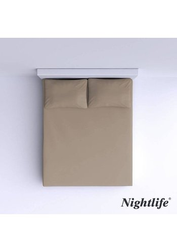 Nightlife Glattbaumwolle Spannbetttuch 160x200cm - Taupe