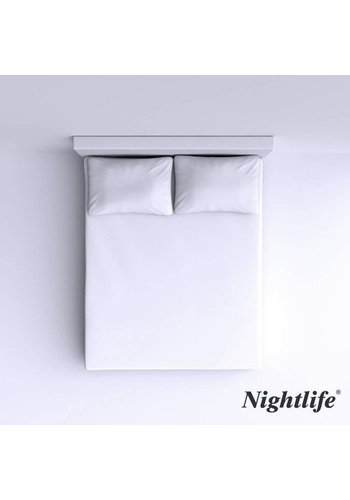 Nightlife Gladde Katoenen Hoeslaken 160x200cm - Wit