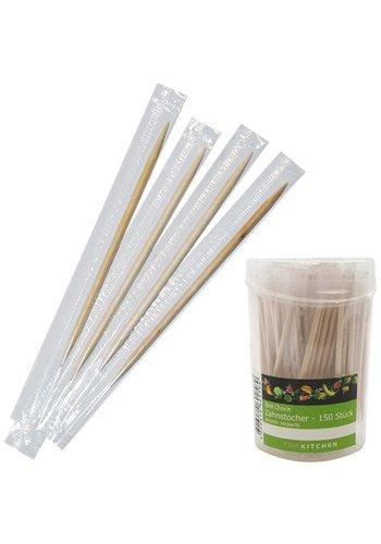 Best Choice Zahnstocher 150 Stück Hygienisch einzeln verpackt, 9x4,5cm