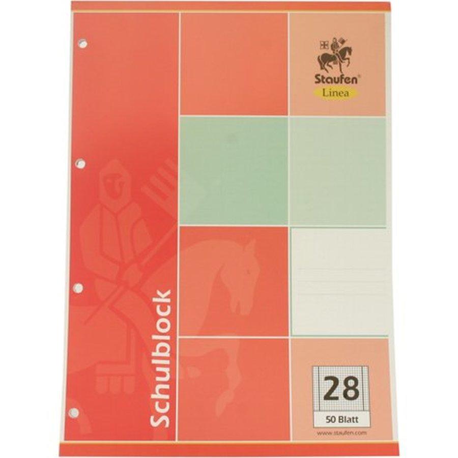Schreibblock DIN A4 50 Bl. Quadrate Papier 28+ 4x Binder Löcher