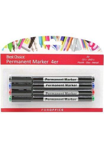 Permanent marker Stift universale Set van 4 verschillende kleuren