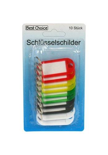 Best Choice Sleutelhanger met label 10 stuks 5cm met 5 kleuren