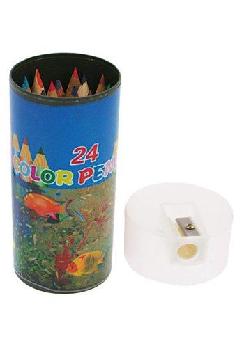 Neckermann Crayons de couleur 24 pièces et couleurs dans la boîte de rangement avec taille-crayon 10,5x4,5cm